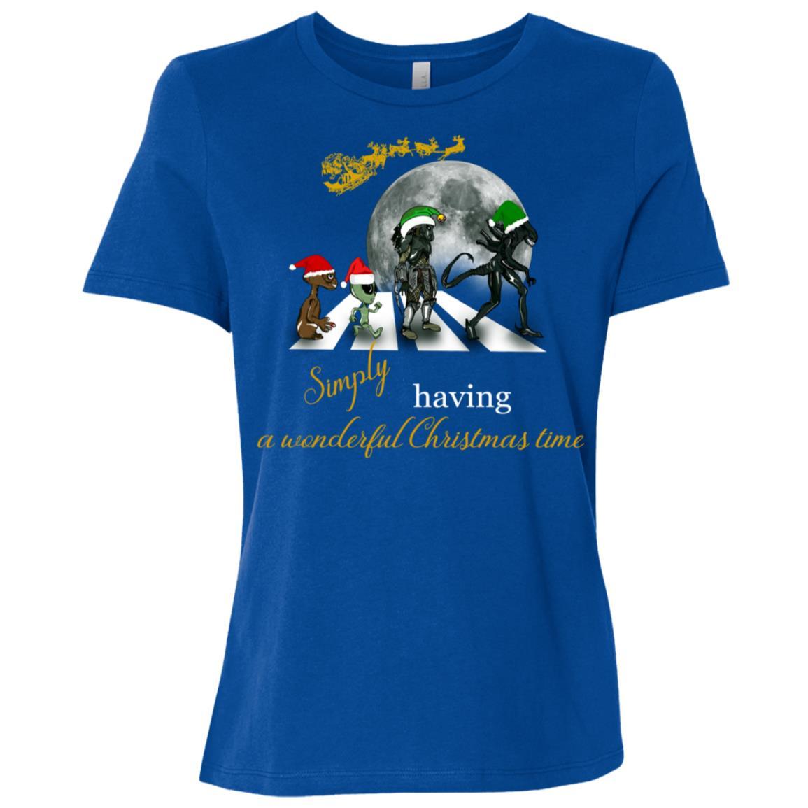 Funny Classic Album Sci Fi-Geek Xmas Alien Road Tee Women Short Sleeve T-Shirt