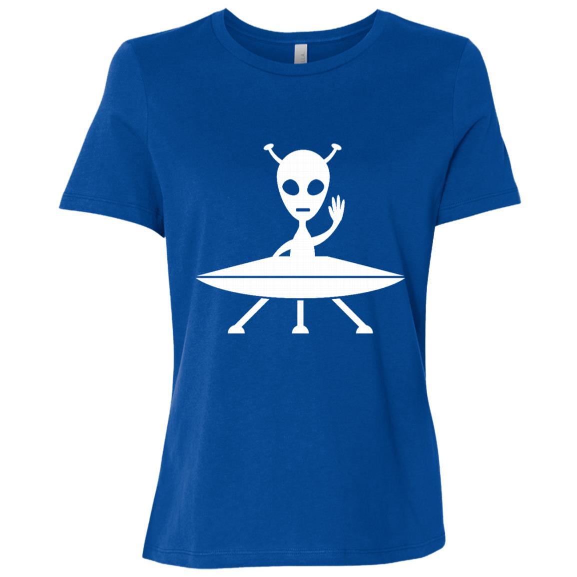 Funny Allien On A Spaceship Ufo Birthday Gift Women Short Sleeve T-Shirt