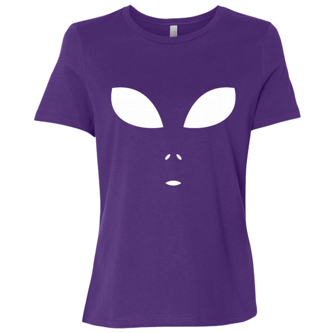 Funny Alien Face Scary Science Fiction Geek Gift Women Short Sleeve T-Shirt