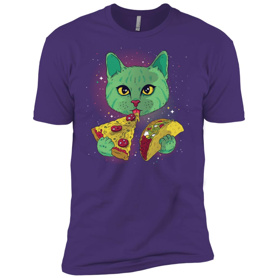 Funny Cosmic Space Cat Eating Pizza and Taco Tee Men Short Sleeve T-Shirt