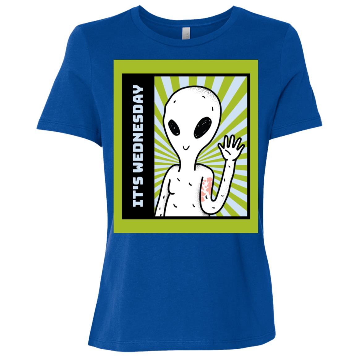 Funny It's Wednesday Green Alien gift idea Women Short Sleeve T-Shirt