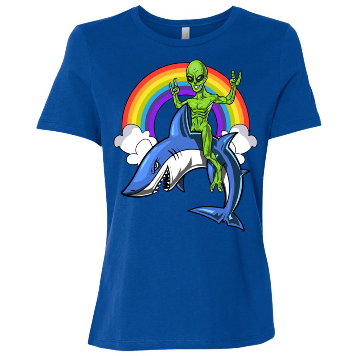 Space Alien Riding Shark Ocean Rainbow Women Short Sleeve T-Shirt