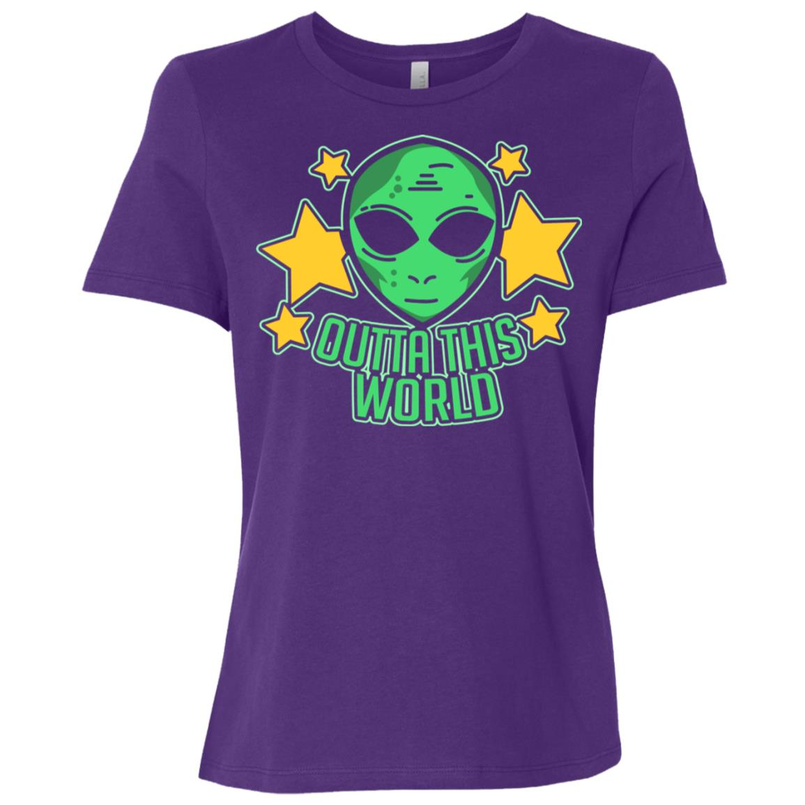 Space Alien Ls Outta This World Funny Cute Gift Tee Women Short Sleeve T-Shirt