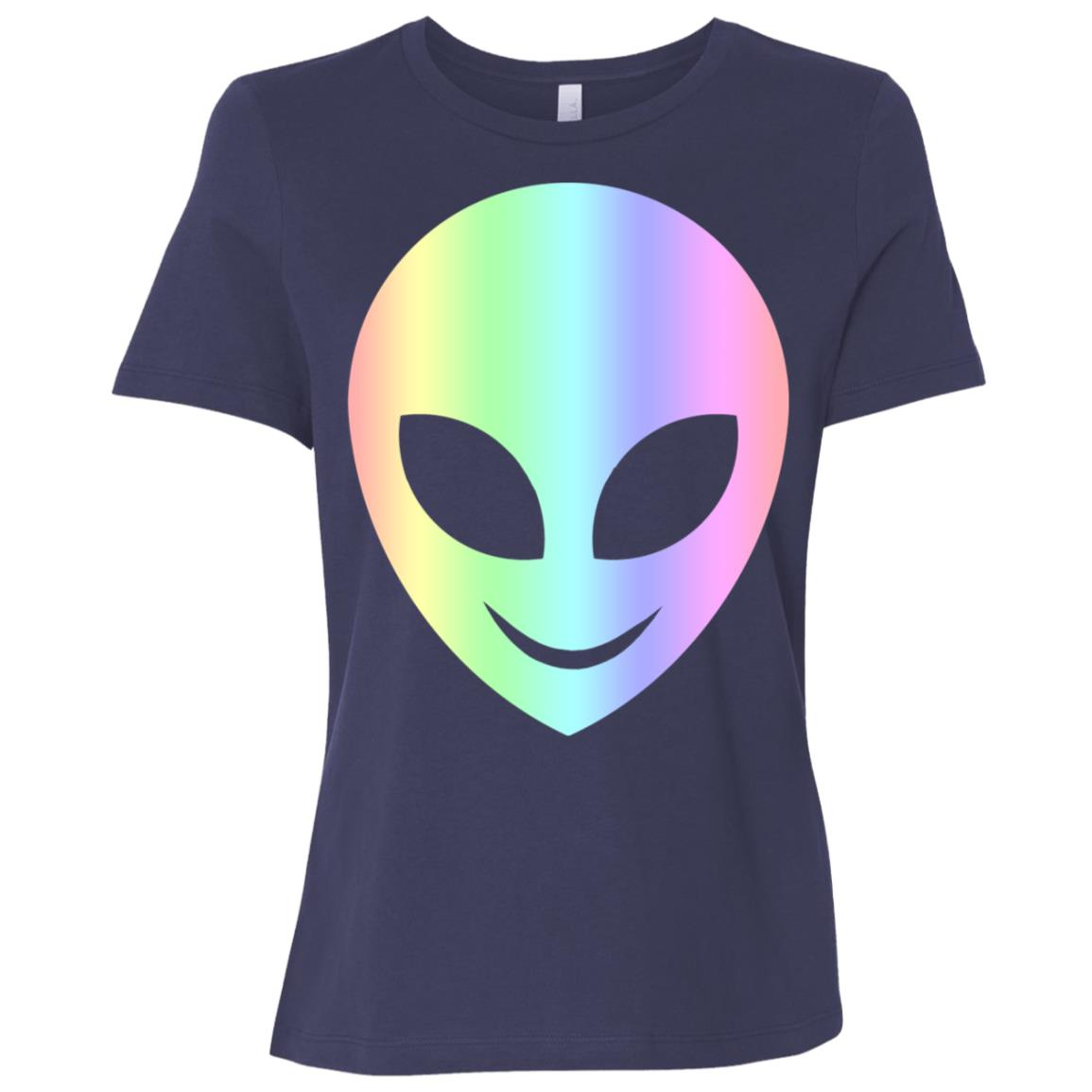Smile Happy Alien Cool Funny Smiling Head Aliens Tee Women Short Sleeve T-Shirt