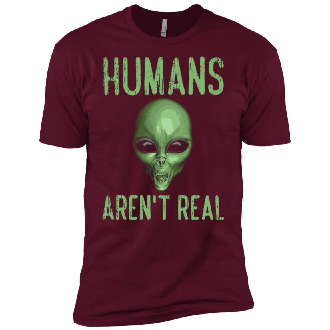 Humans Aren't Real Funny Ufo Alien Men Short Sleeve T-Shirt