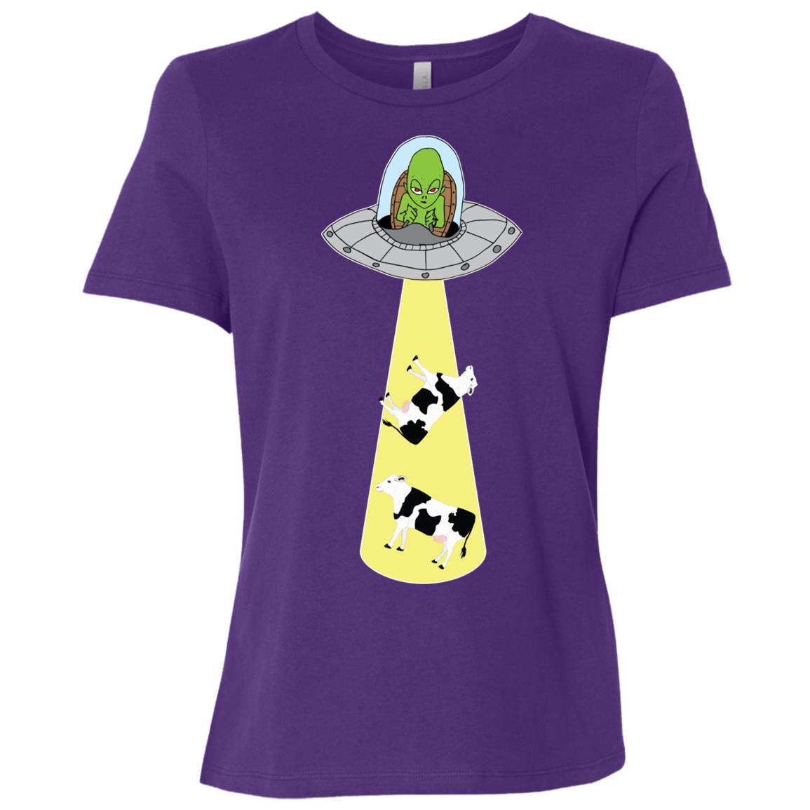 Ufo Cow Abduction Funny Alien Rosewell Conspiracy Gift Women Short Sleeve T-Shirt