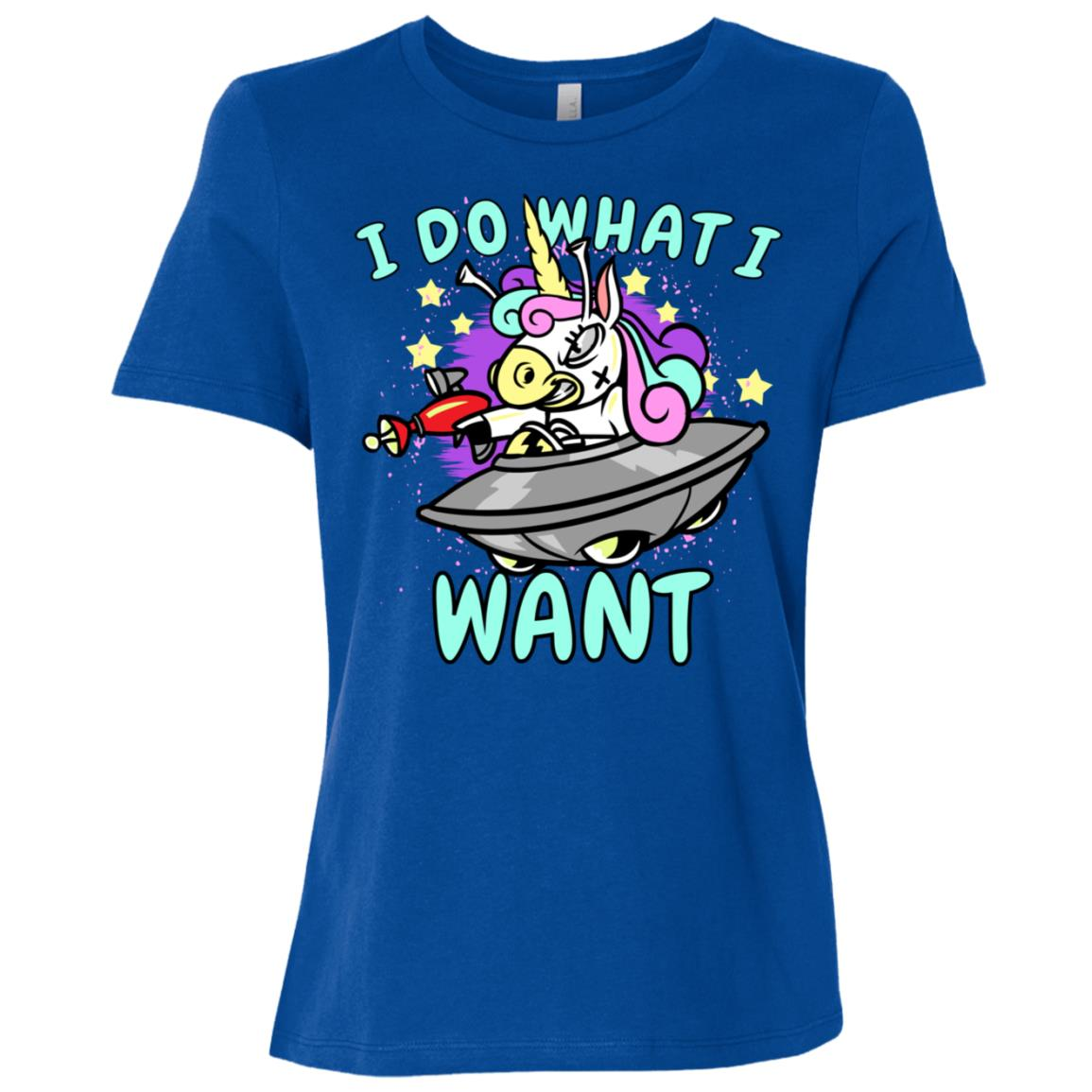 I do What I Want Funny Cute Unicorn Ufo Women Short Sleeve T-Shirt