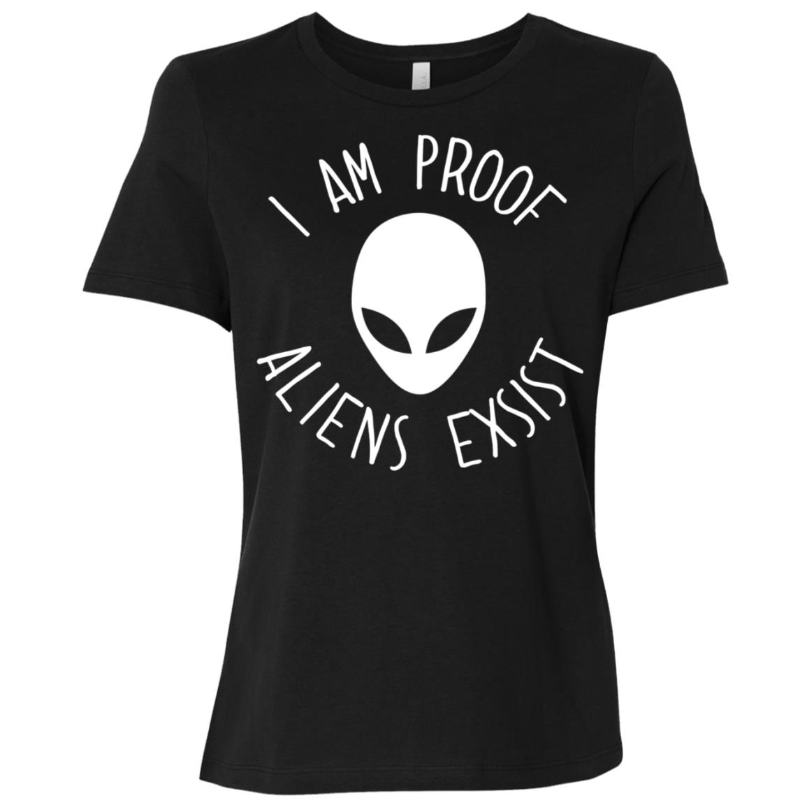 I Am Proof Aliens Exist Funny Space Ufo Trendy Tee Women Short Sleeve T-Shirt