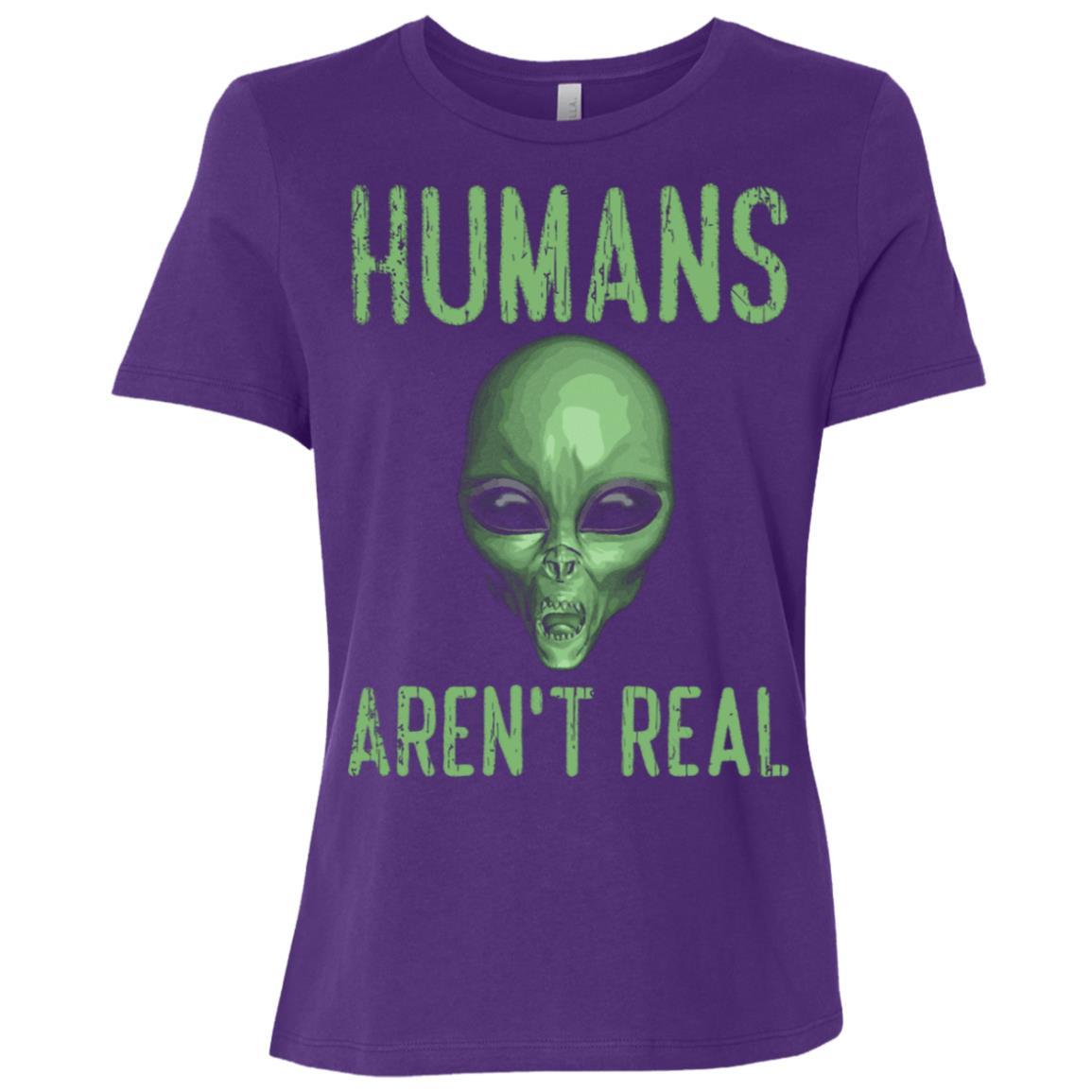 Humans Aren't Real Funny Ufo Alien Women Short Sleeve T-Shirt