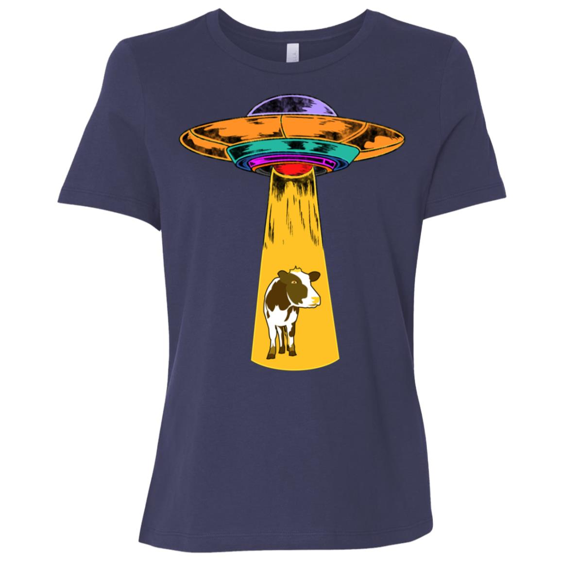 Ufo Abducting a Cow Women Short Sleeve T-Shirt