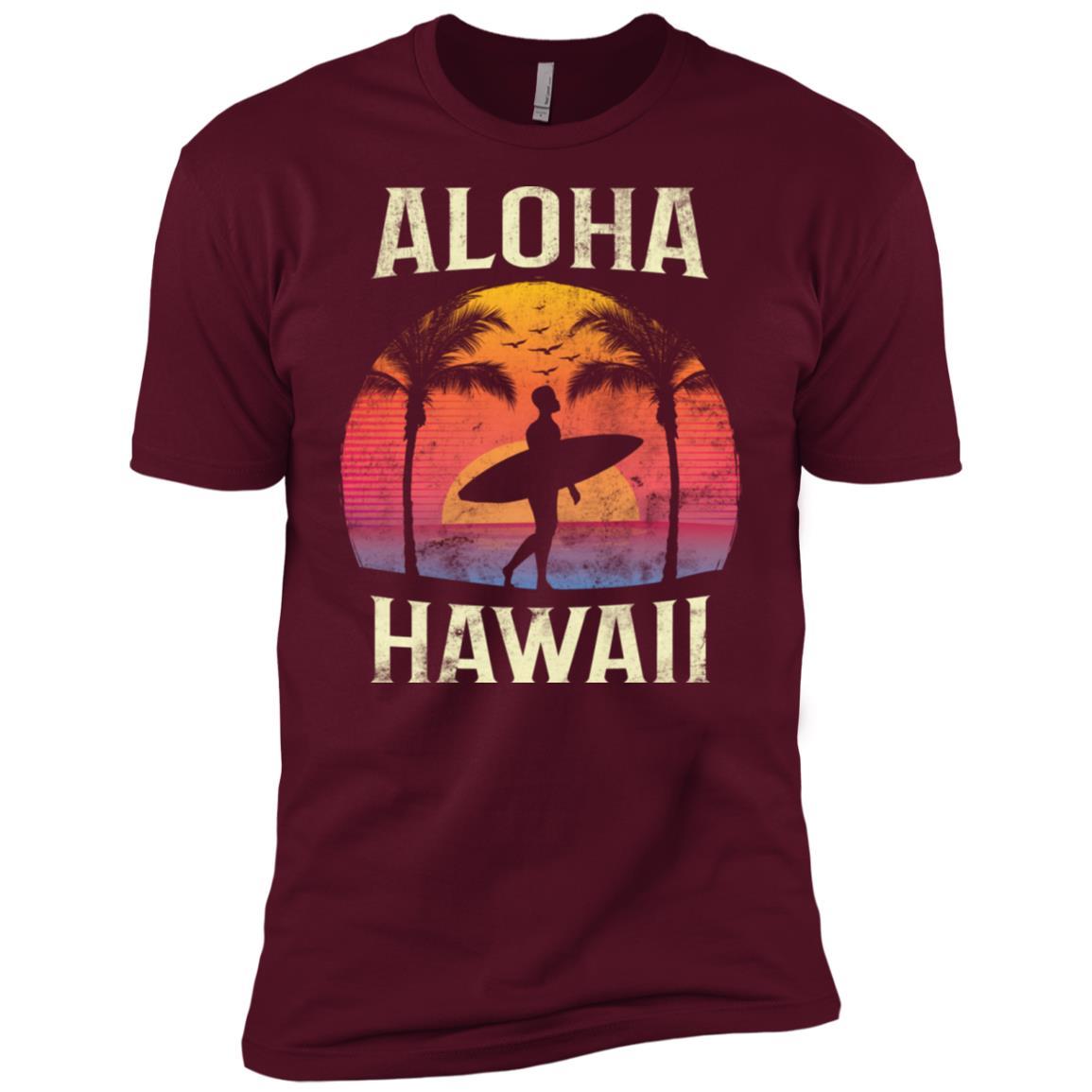 Aloha Hawaii Hawaiian Vintage Surfer Surf Gift Men's Short Sleeve Shirts