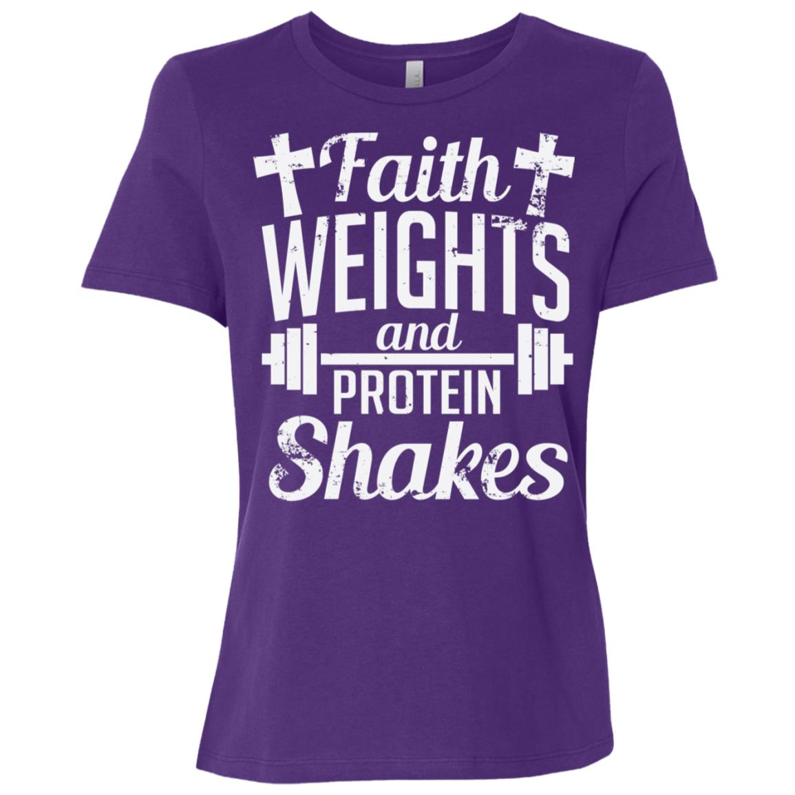 Faith Weights And Protein Shakes Funny Religious Women Short Sleeve T-Shirt