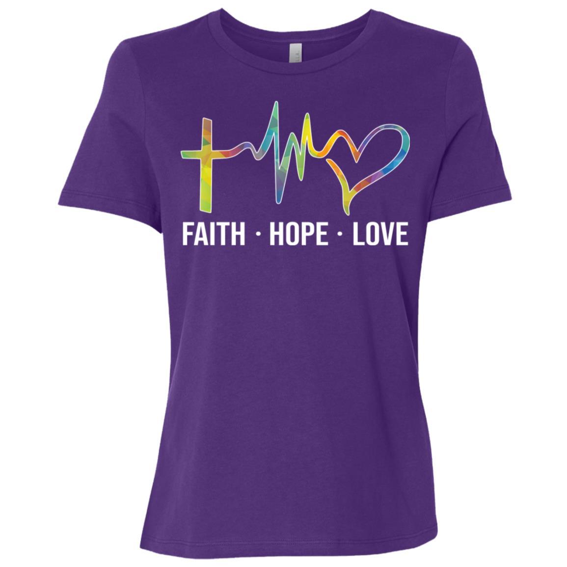 Faith Hope Love Christian Heartbeat Jesus Saying-1 Women Short Sleeve T-Shirt