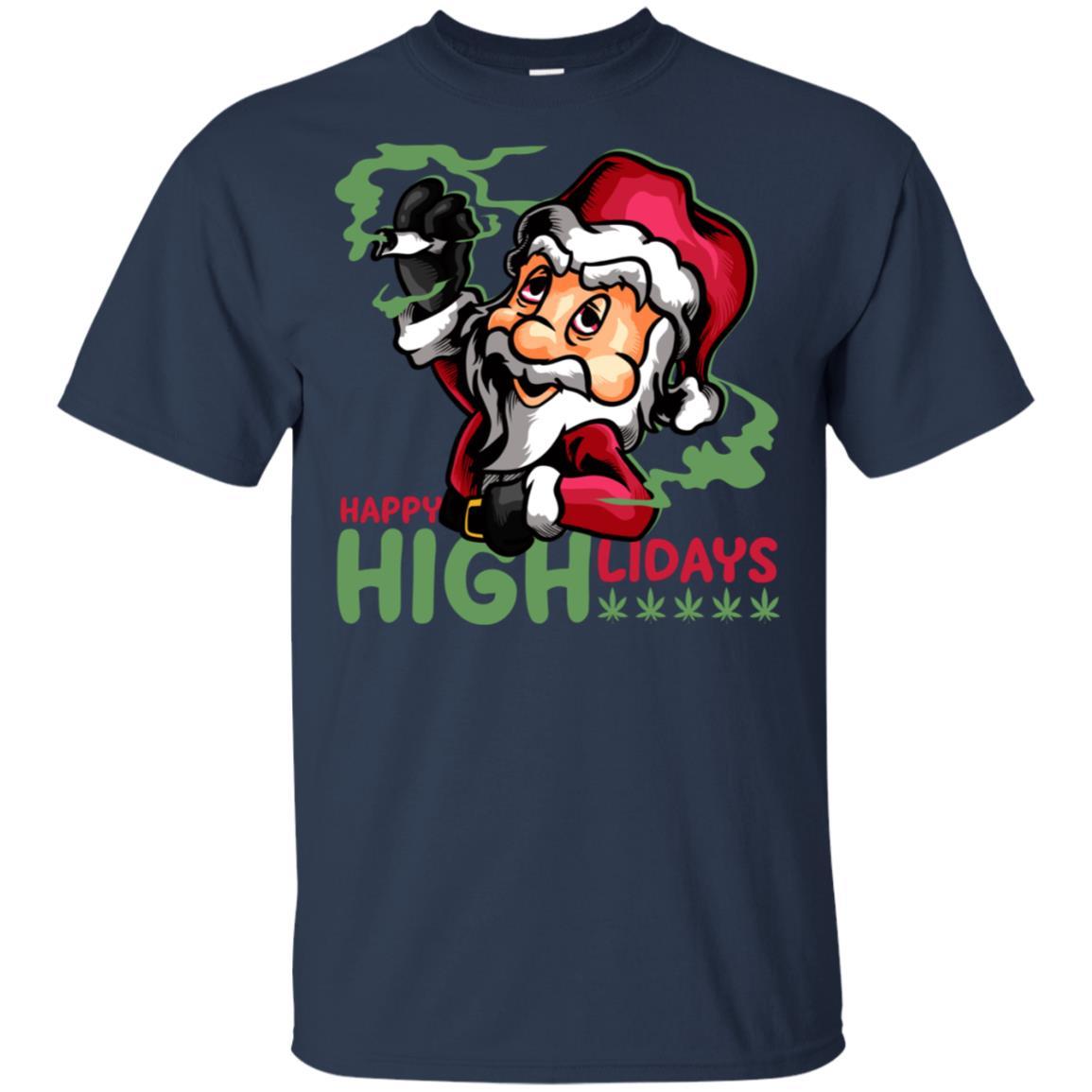 Funny Christmas Santa Smoking Weed Happy Highlidays Unisex Short Sleeve