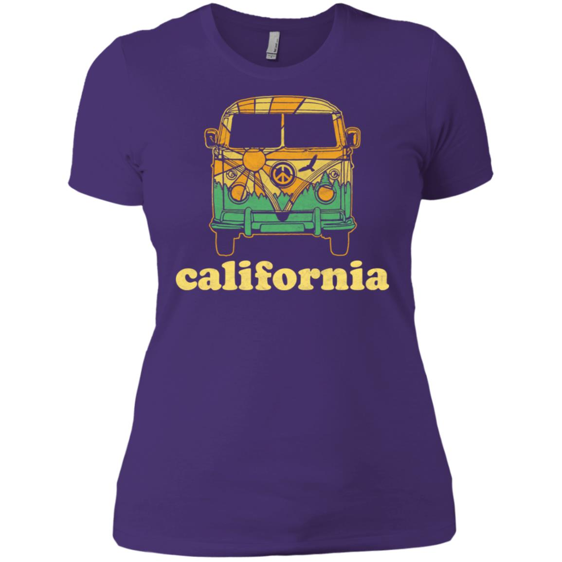 California Hippie Van Camper Vintage Nature Tee Women Short Sleeve