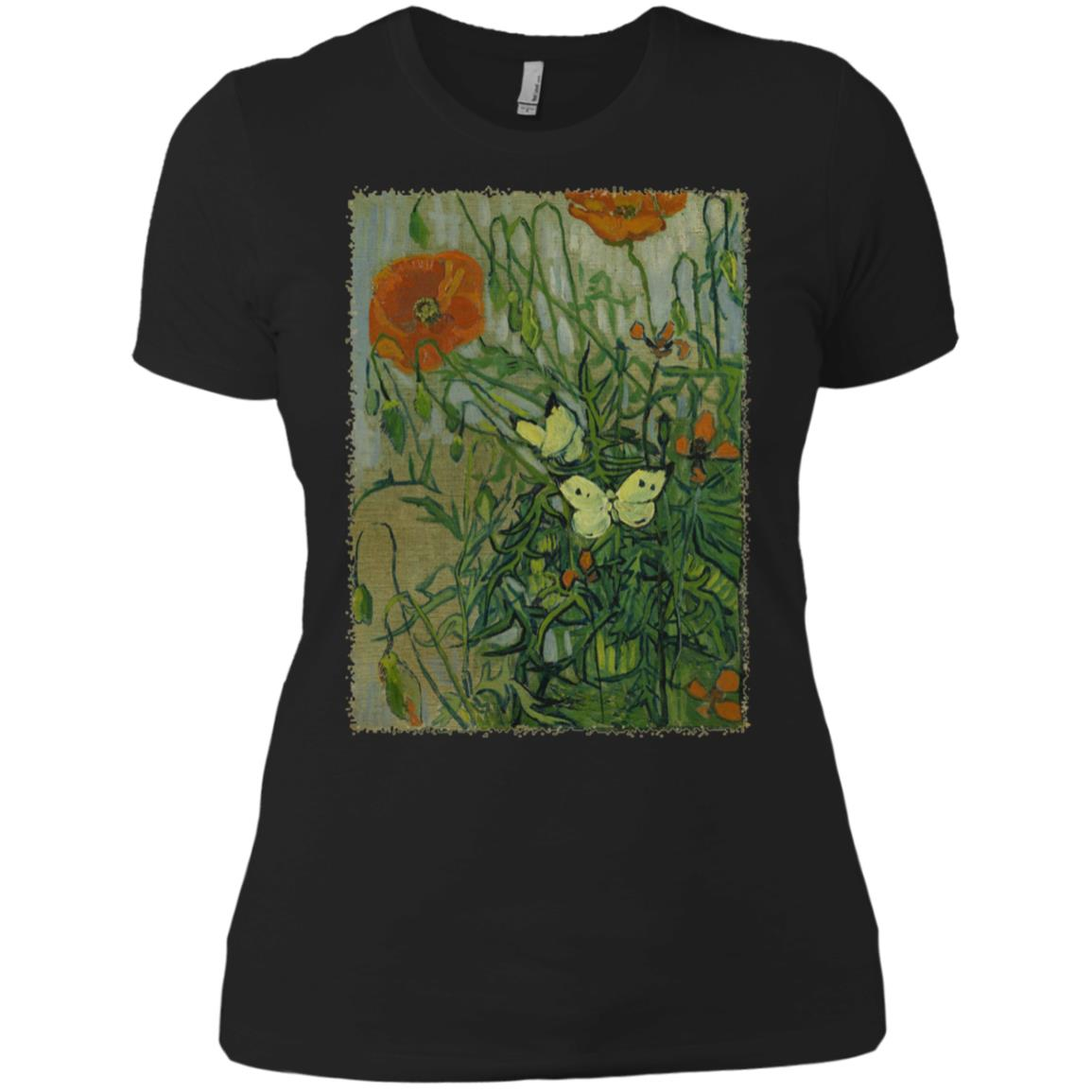 Butterflies and Poppies by Vincent van Gogh Women Short Sleeve