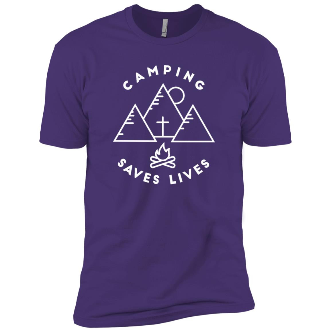 Camping Saves Lives Family Camp Summer Religious Men Short Sleeve