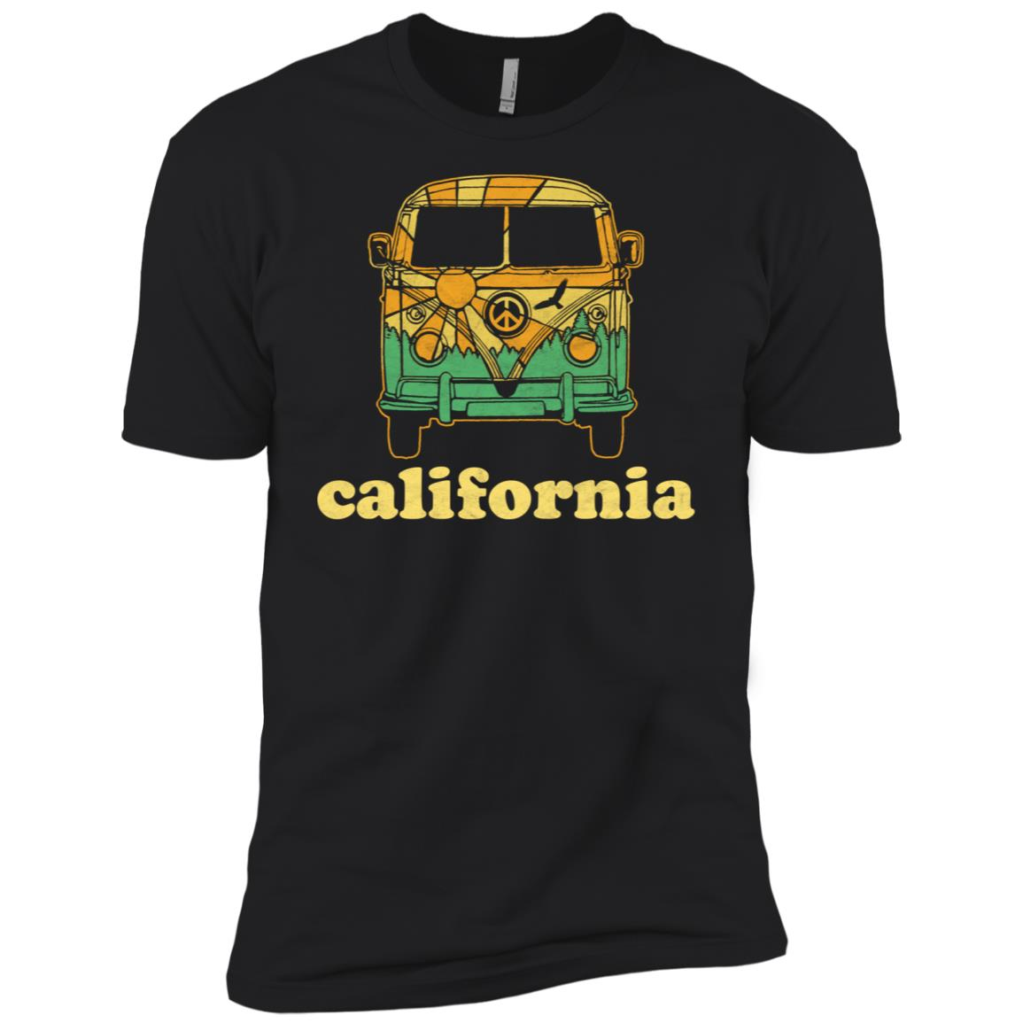 California Hippie Van Camper Vintage Nature Tee Men Short Sleeve