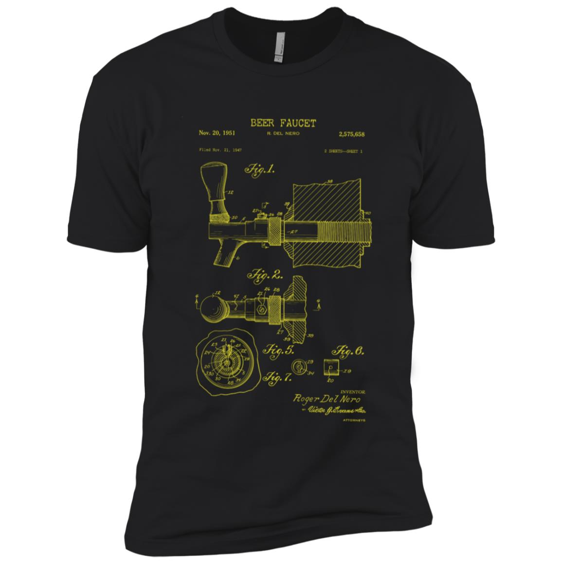 Beer Tap Patent Blueprint Gift for Brewer Men Short Sleeve