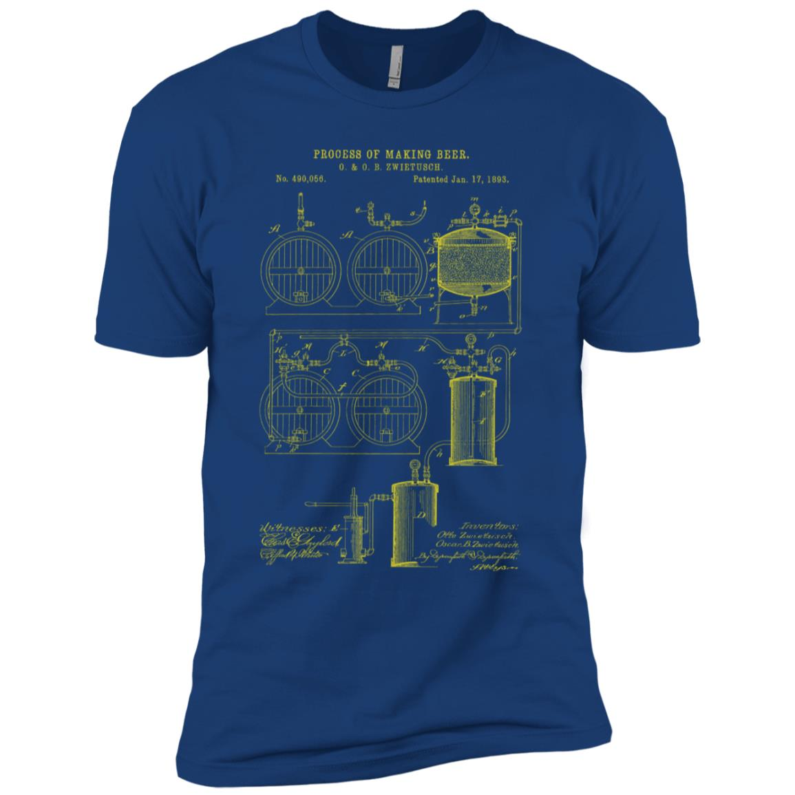 Beer Brewing Patent Brewery Blueprint Men Short Sleeve
