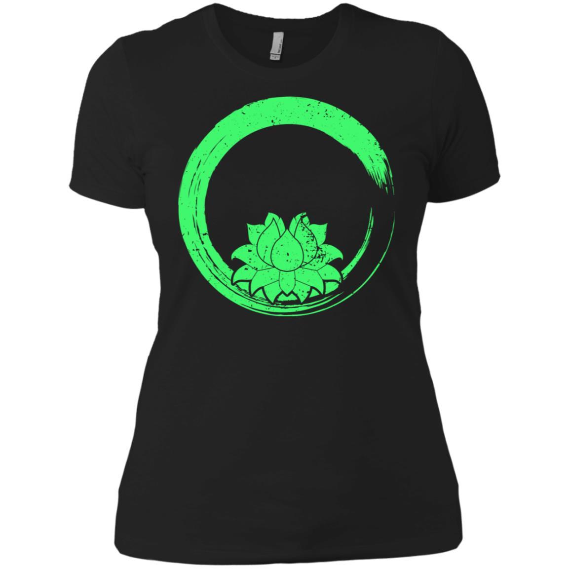 Zen Gift Green Lotus Flower Yoga Women Short Sleeve