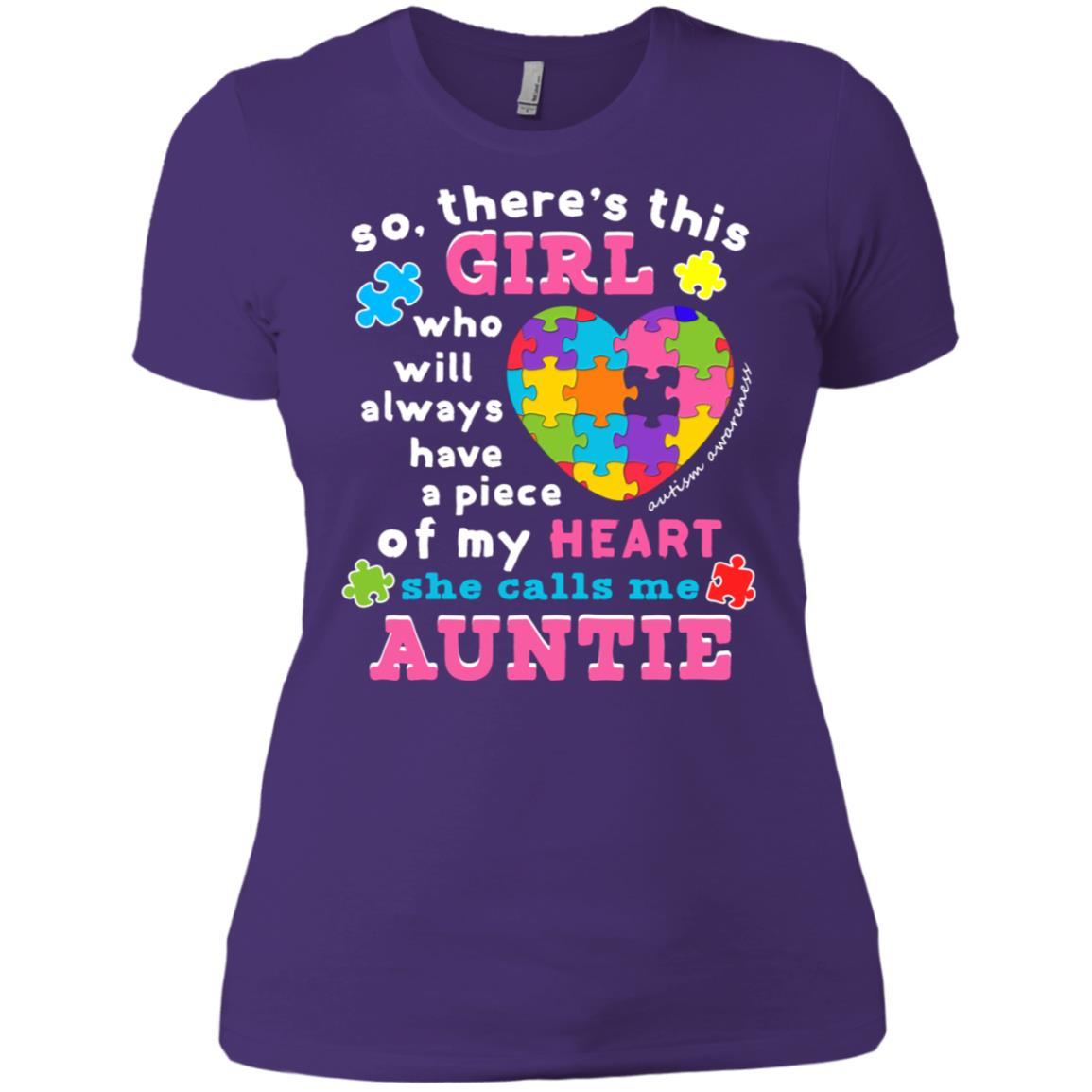Womens Theres a girl She calls me Auntie Wear Autism Puzzle Women Short Sleeve