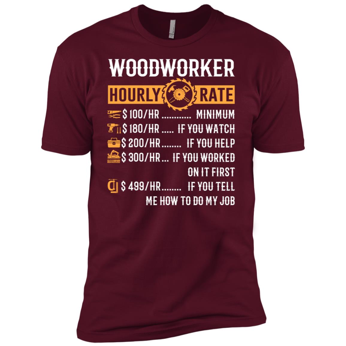 Woodworker Hourly Rate Funny Woodworking Gifts Men Short Sleeve
