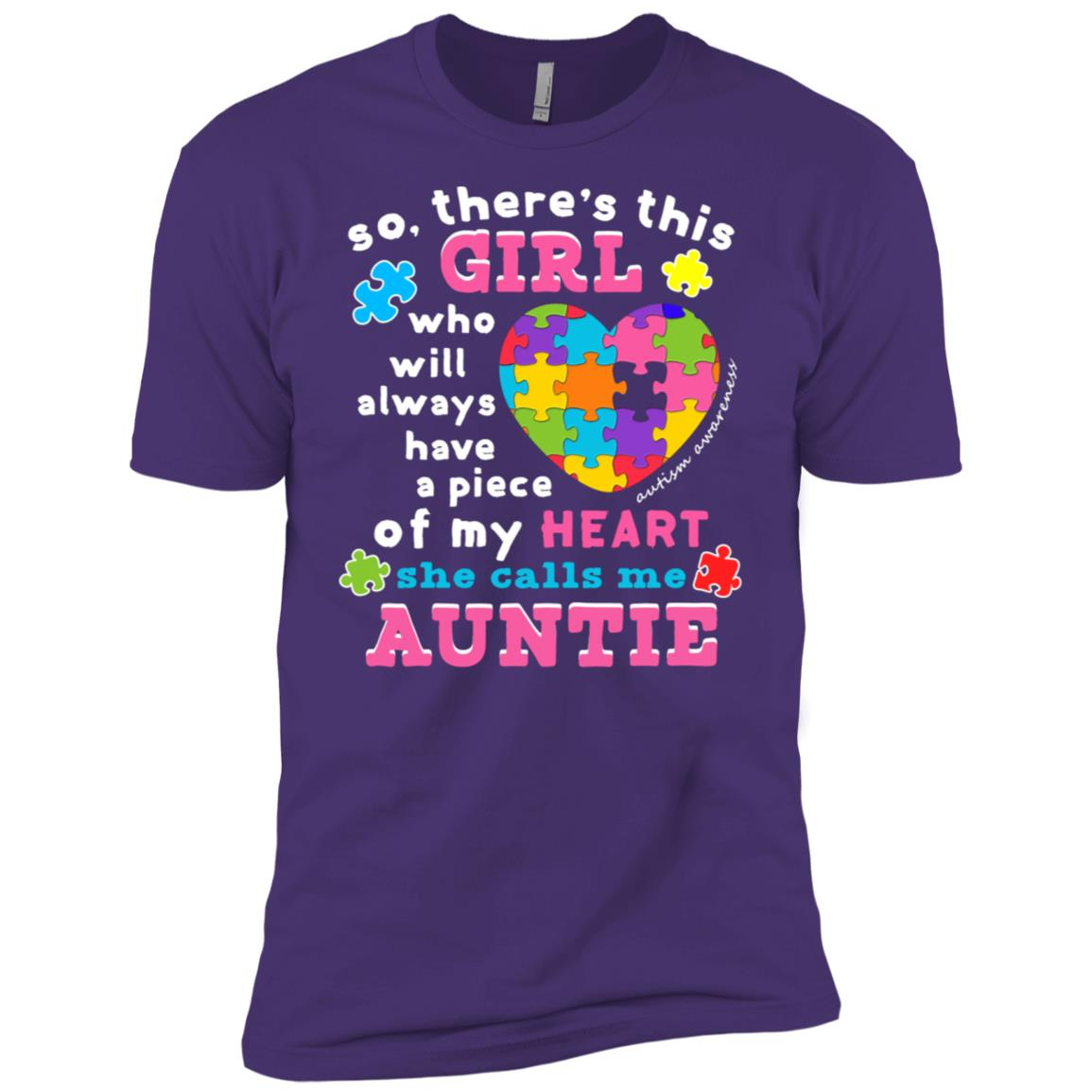 Womens Theres a girl She calls me Auntie Wear Autism Puzzle Men Short Sleeve