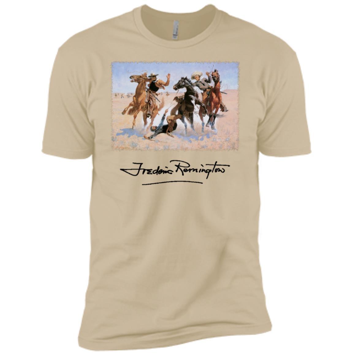 Aiding a Comrade by Frederic Remington, Cowboys-1 Men Short Sleeve