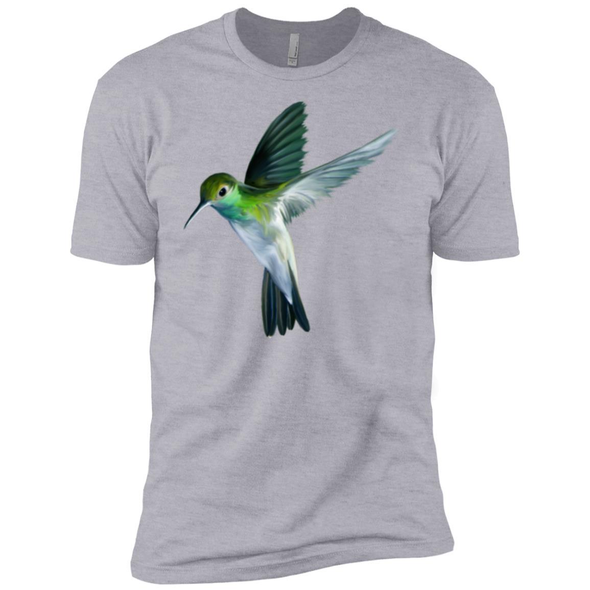 Beautiful Flying Green Hummingbird Watercolor Art Men Short Sleeve