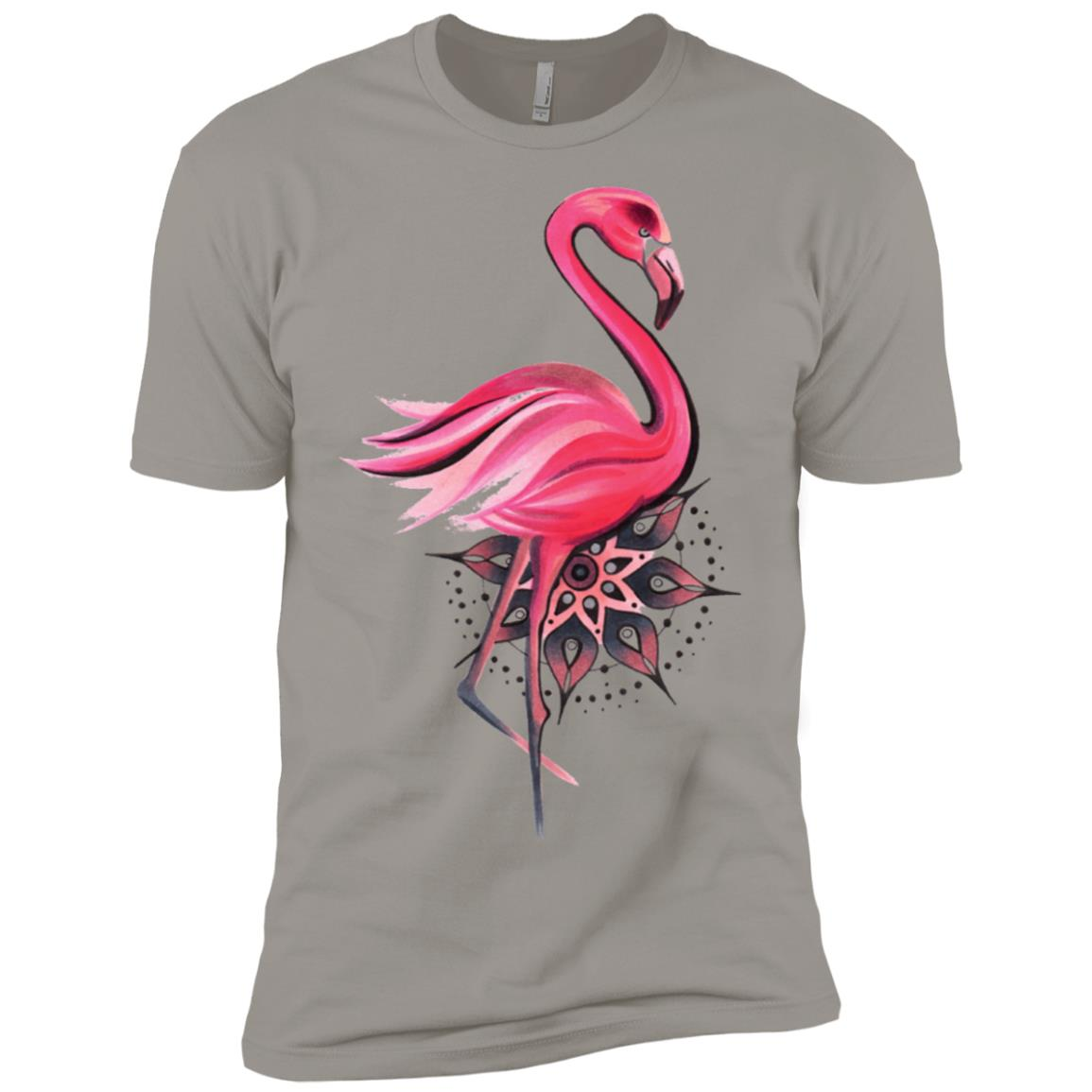 Beautiful Pink Flamingo Bird Mandala Painting Men Short Sleeve