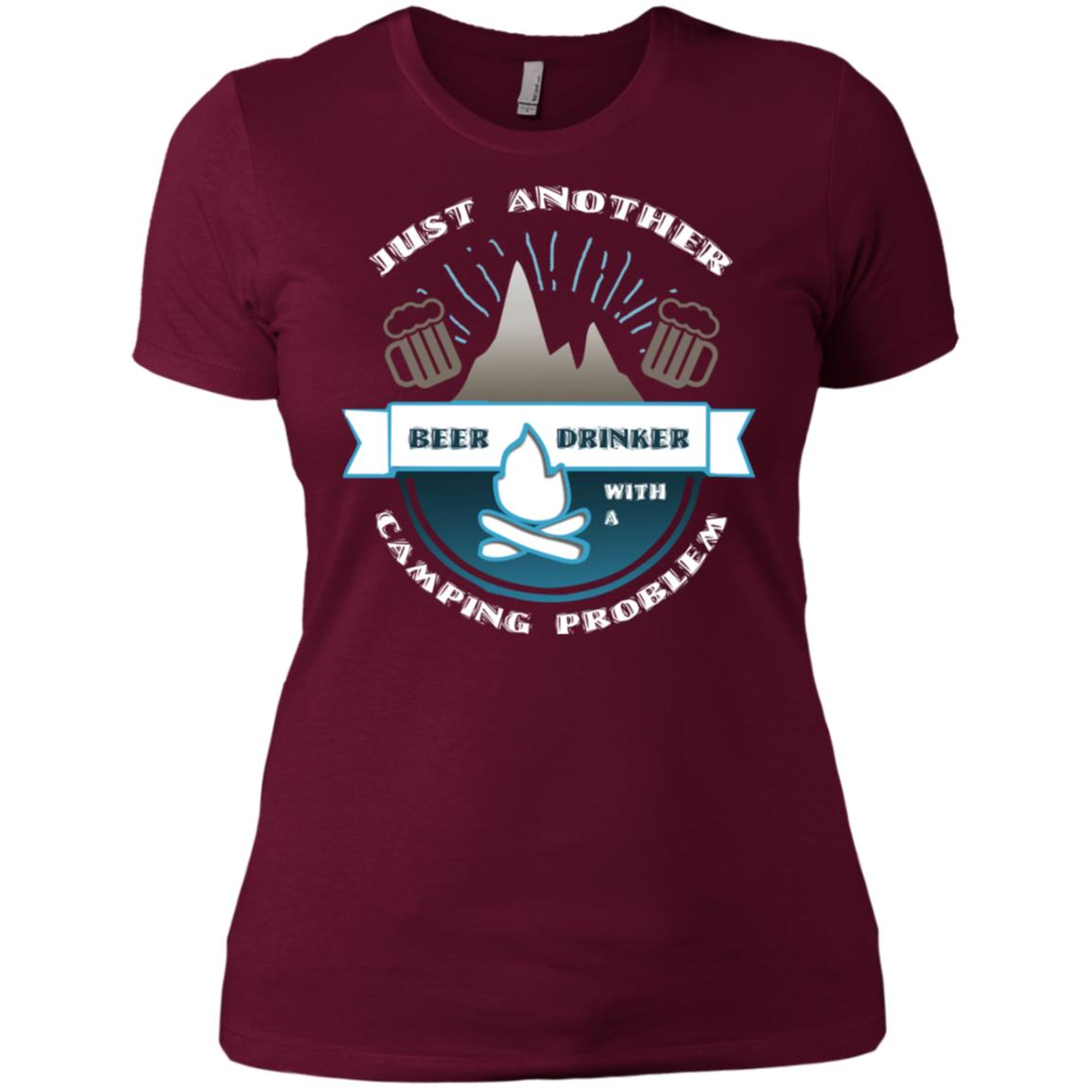 Beer Drinker With Camping Problem Cool Hiking Women Short Sleeve