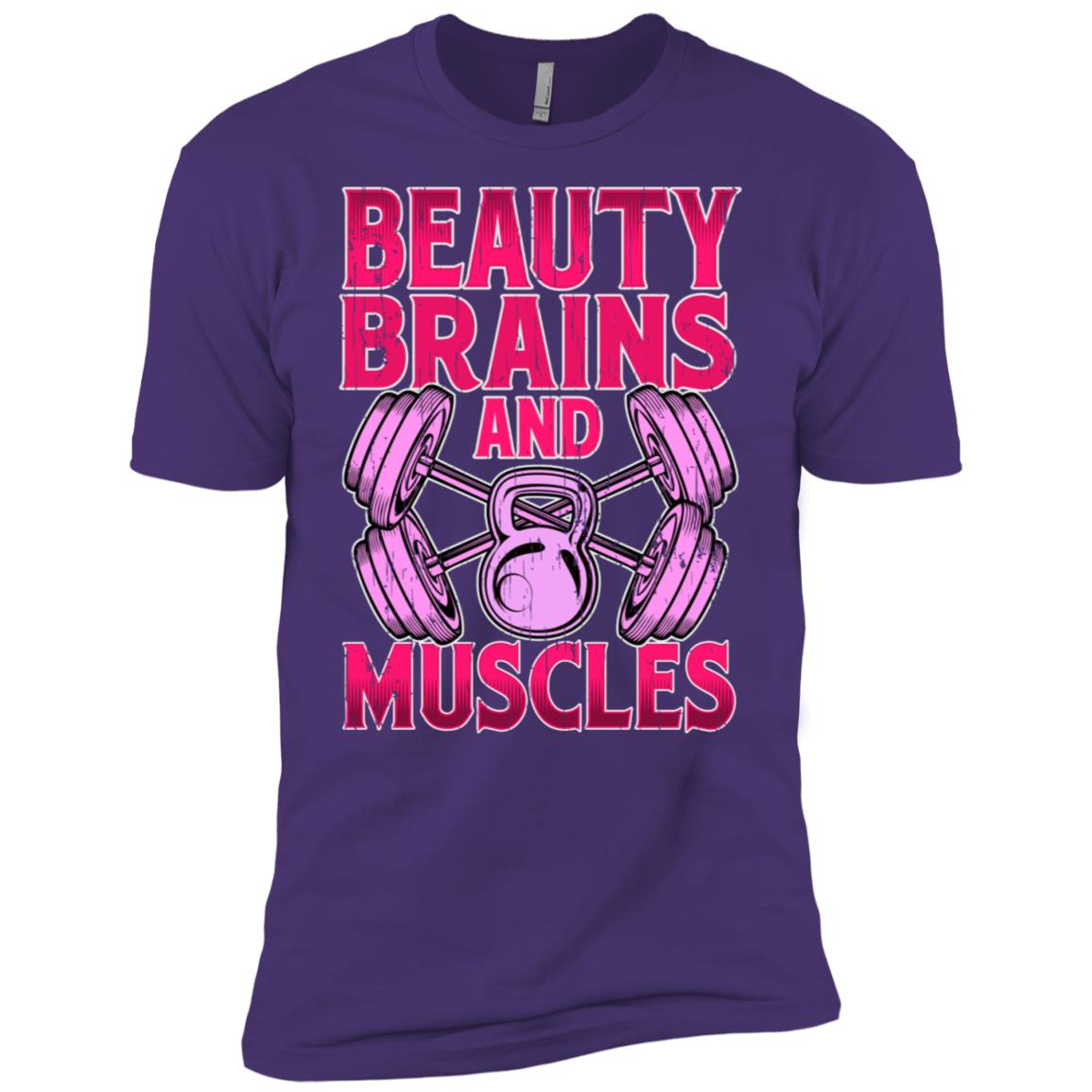 Beauty Brains and Muscles – Funny Female Body Builder Men Short Sleeve