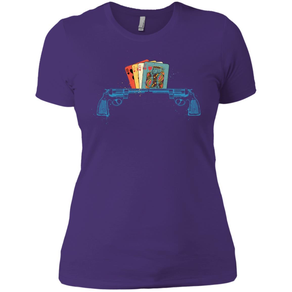 Card Player Gambling Gift Gun & Cards Poker Player Women Short Sleeve