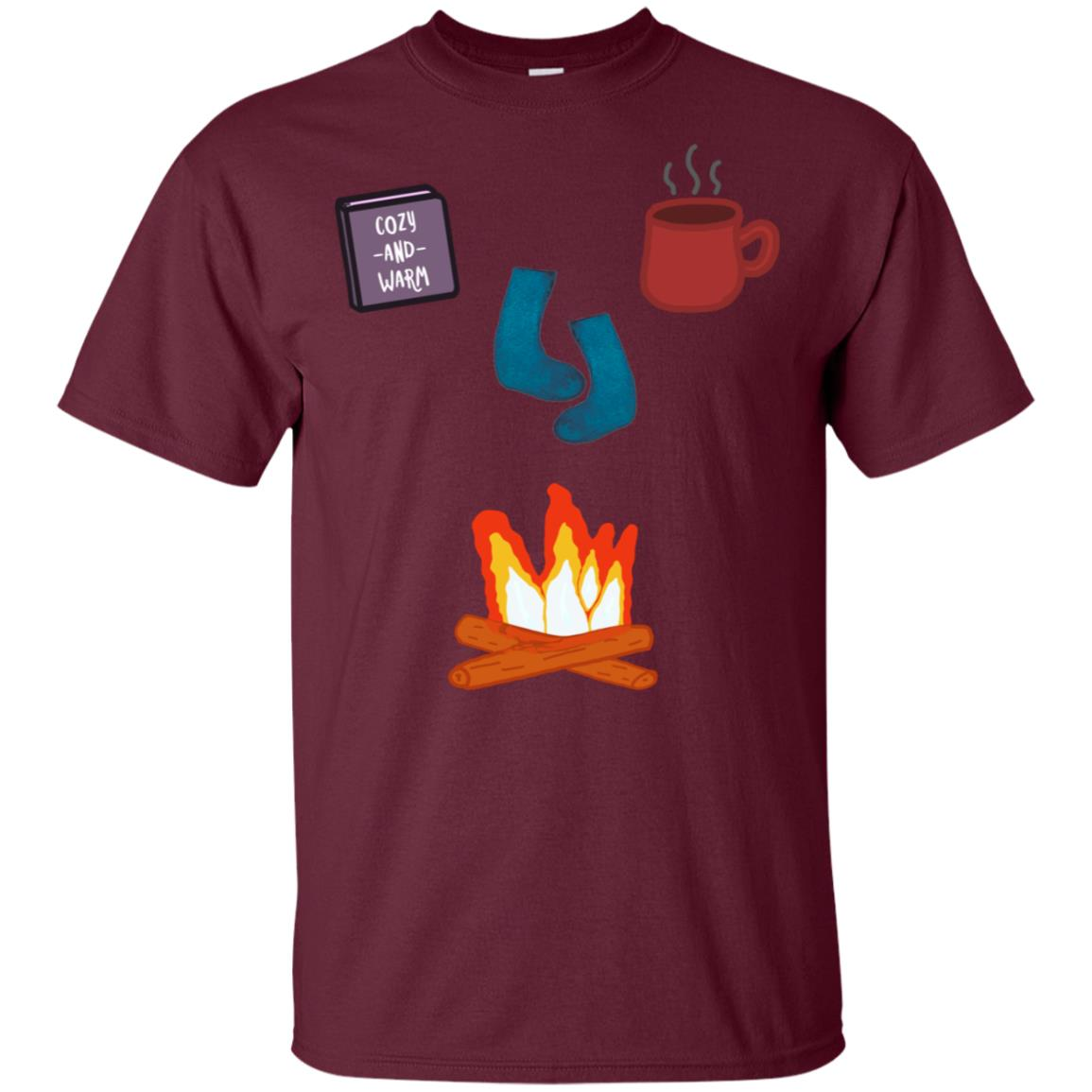 Cozy Warm Socks Fireplace Reading Winter by the Fire Unisex Short Sleeve