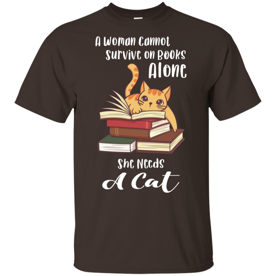 Woman Cannot Survive On Books Alone Reading Cat Gift Unisex Short Sleeve