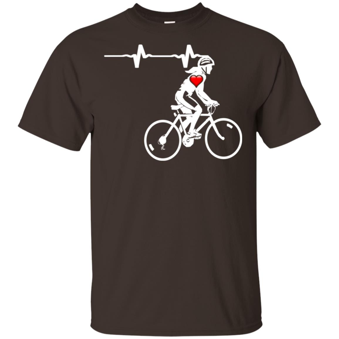 Cycling Gift For Women Heartbeat Biking Tee Lss Unisex Short Sleeve