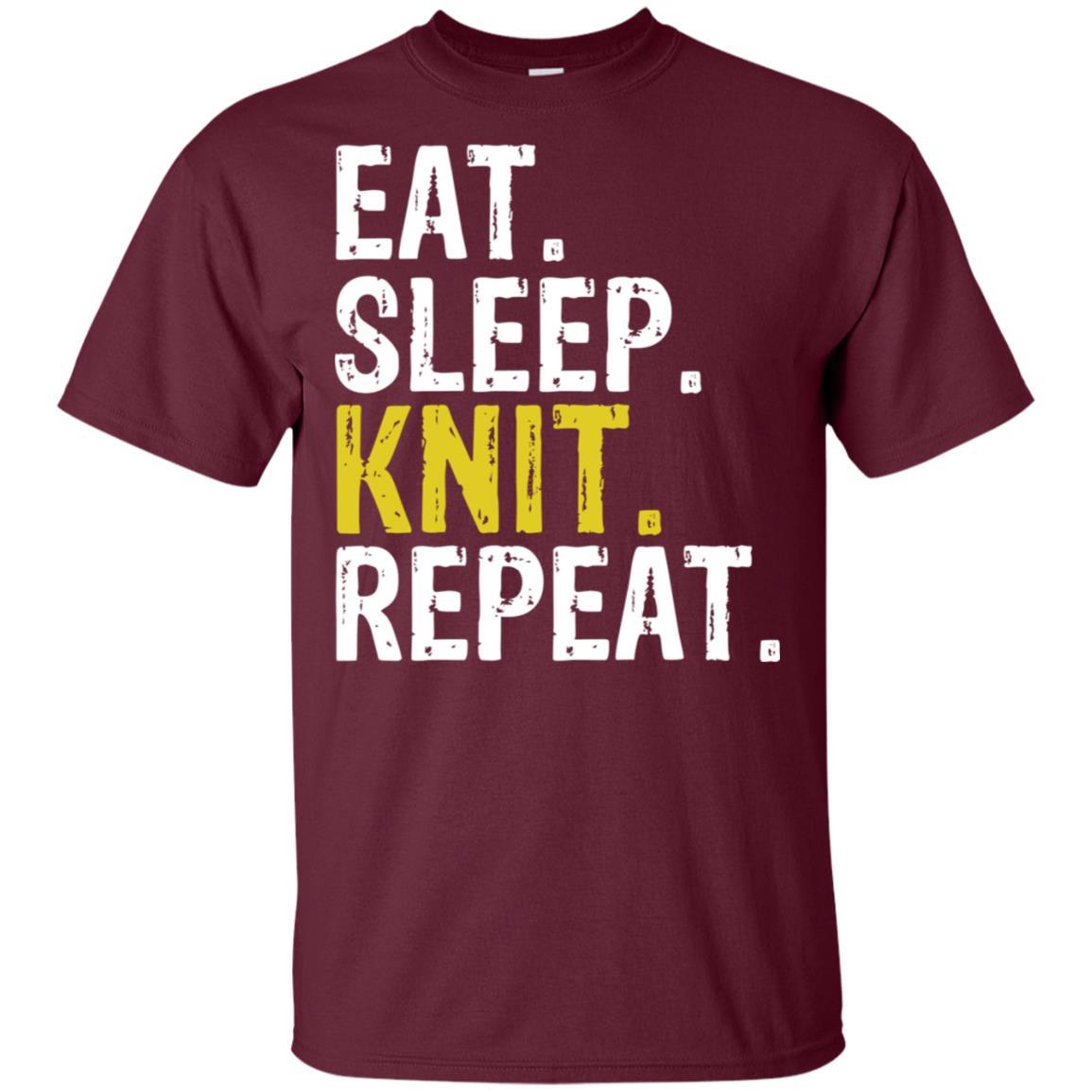 Eat Sleep Knit Repeat Knitting Needles Unisex Short Sleeve