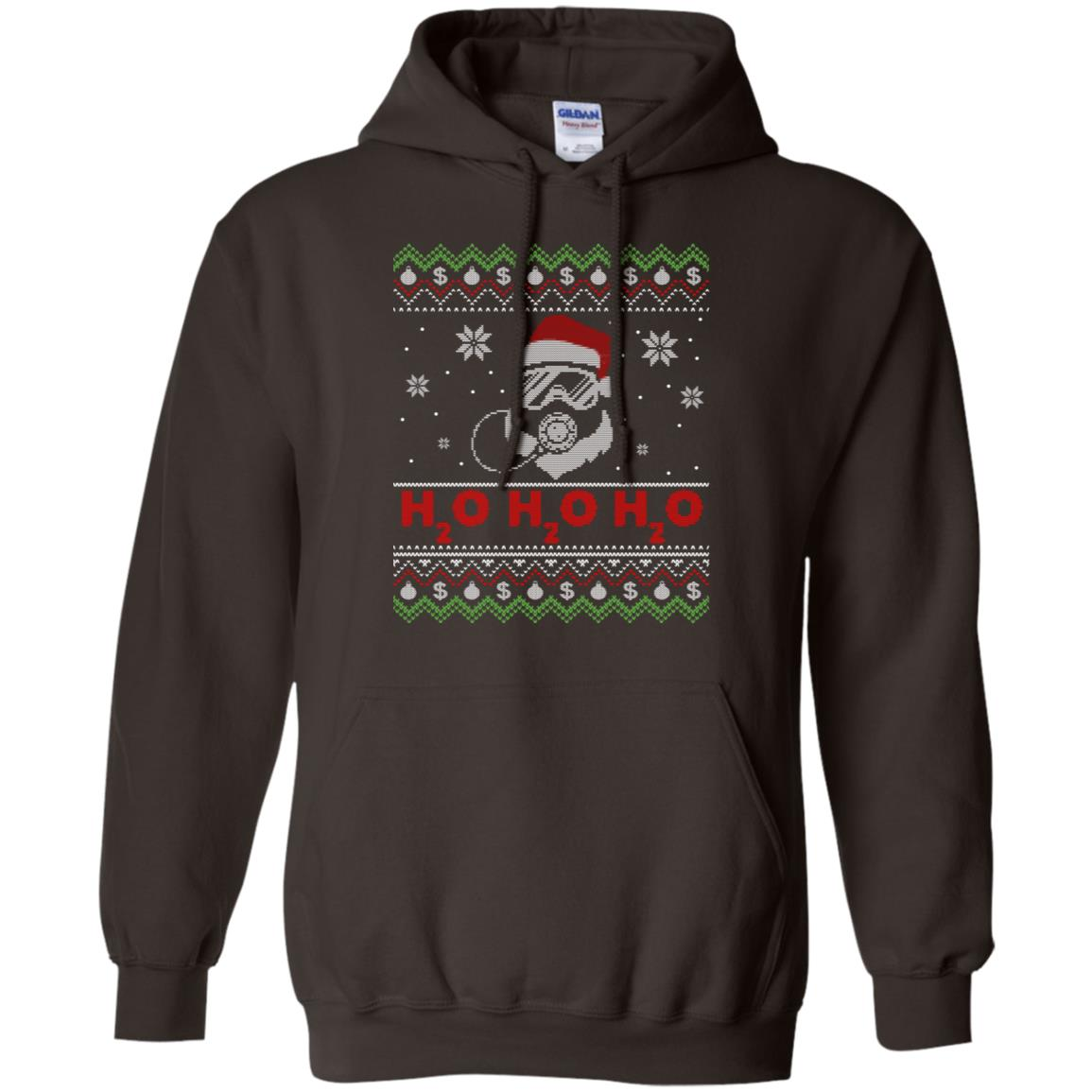 Diving Santa H2o H2o H2o funny Christmas Dive & Gift-2 Pullover Hoodie