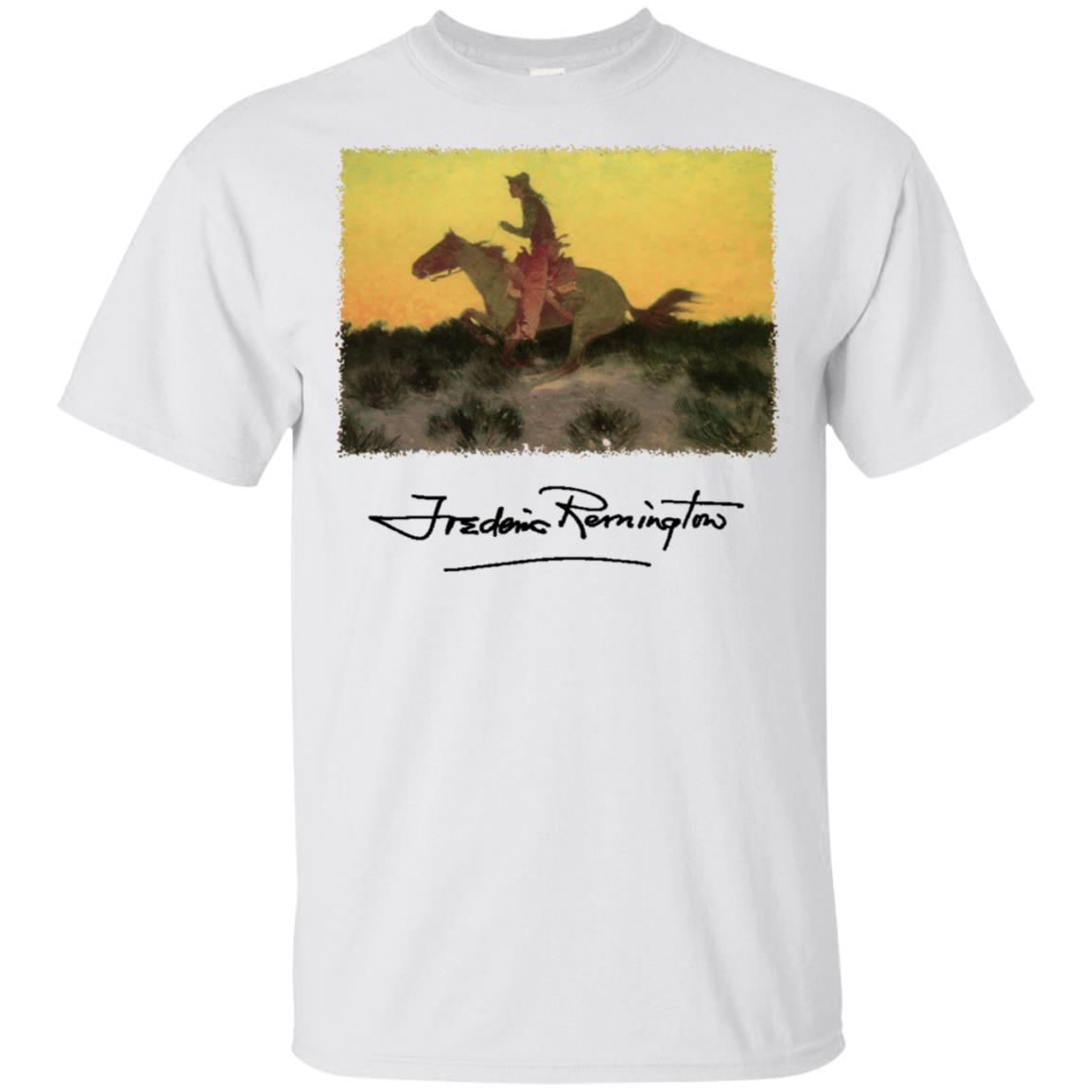 Western Cowboy on a Horse at Sunset by Remington Unisex Short Sleeve