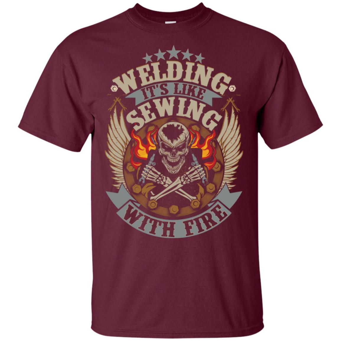Welder Welding Sewing With Fire Image On Back Unisex Short Sleeve
