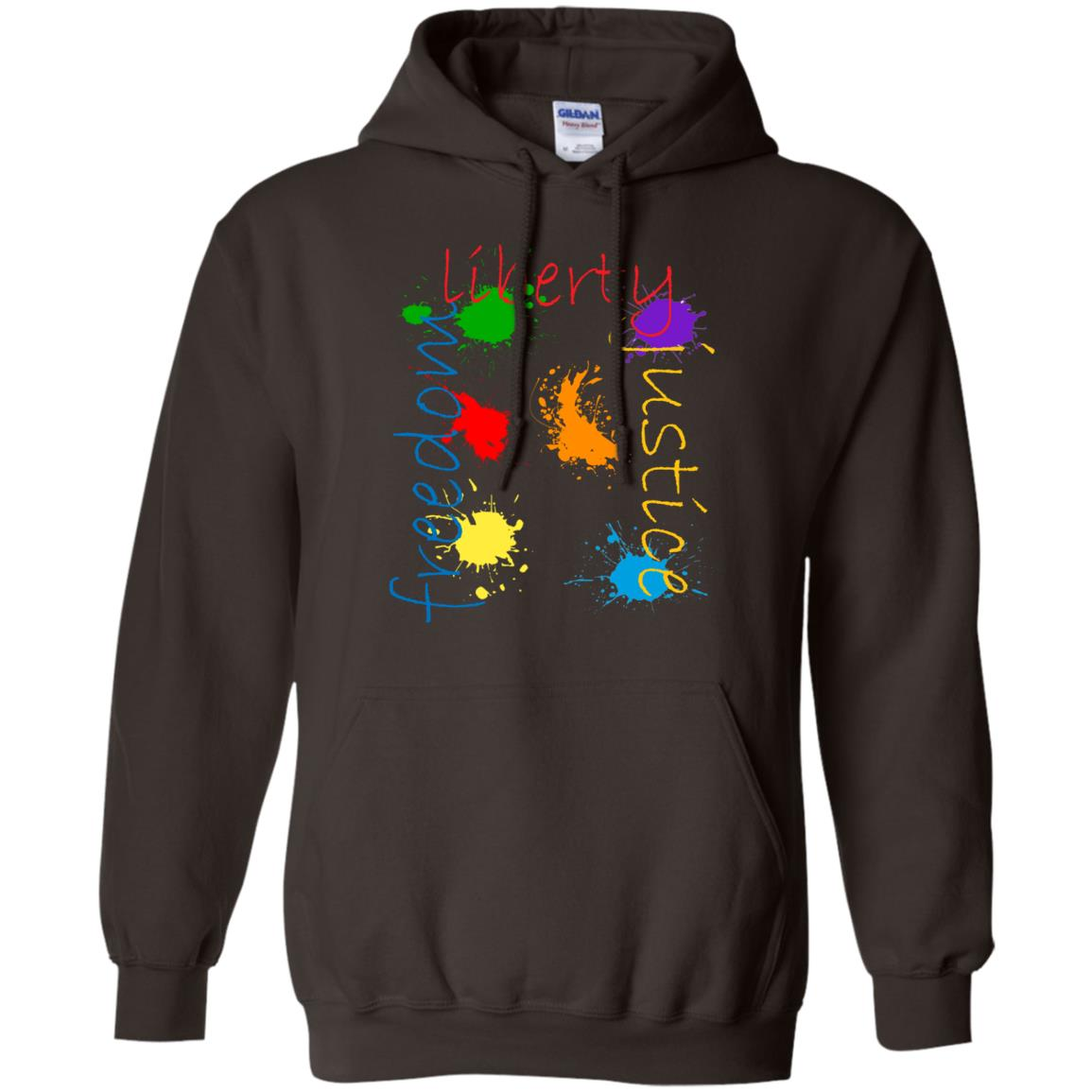 Freedom Justice Liberty Artistic Paintball Paint Splatter Pullover Hoodie