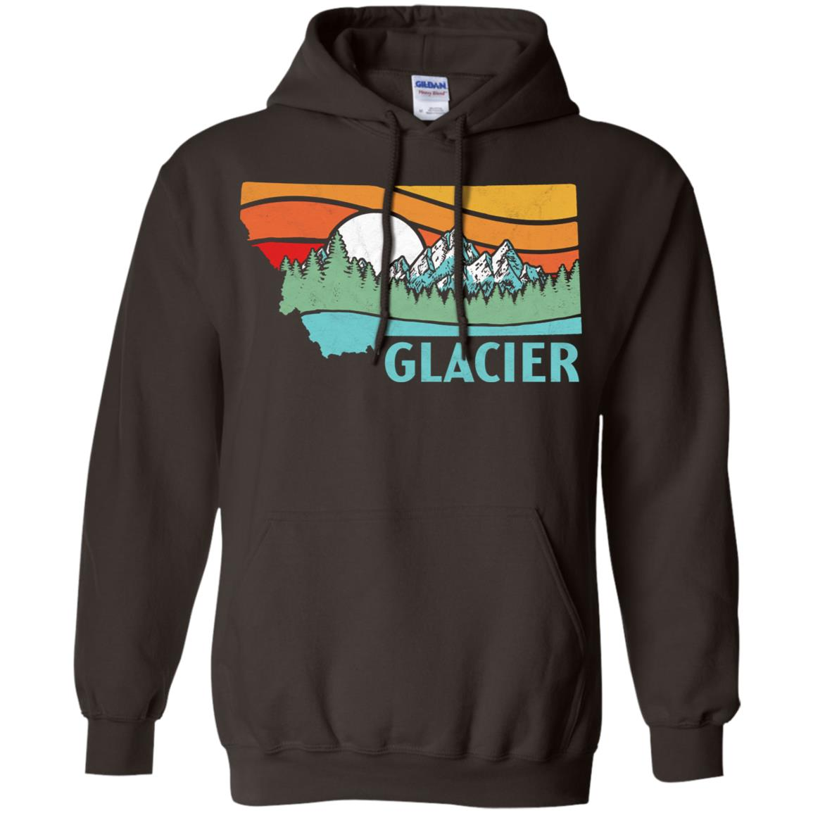 Glacier National Park Montana Outdoors Retro Tee Pullover Hoodie