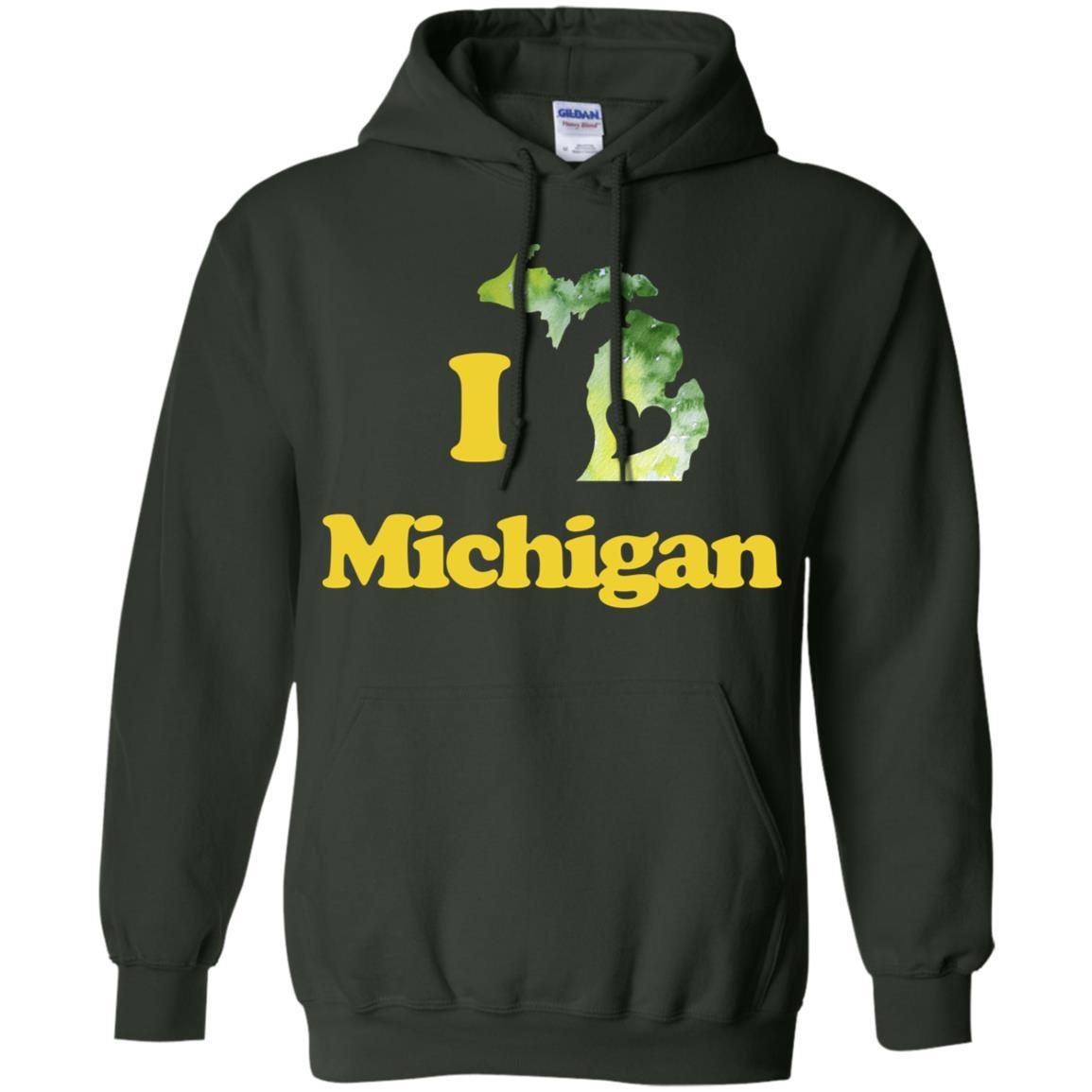 I Love Michigan watercolor Michigander art Pullover Hoodie