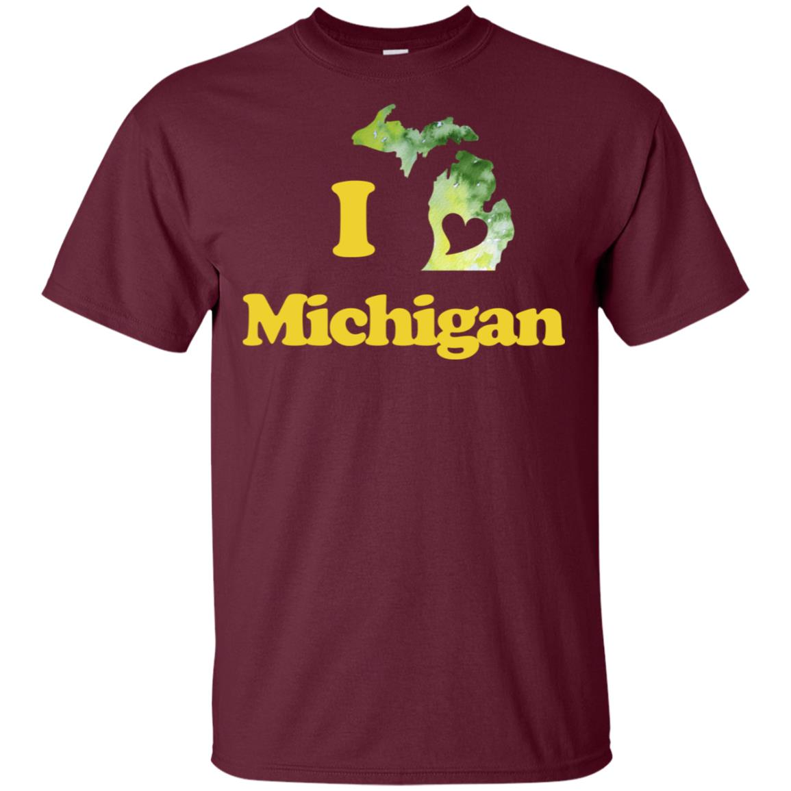 I Love Michigan watercolor Michigander art Unisex Short Sleeve