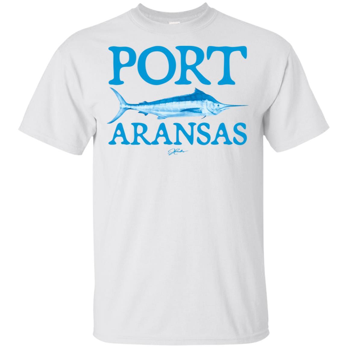 JCombs Port Aransas, Tx, Blue Marlin Unisex Short Sleeve
