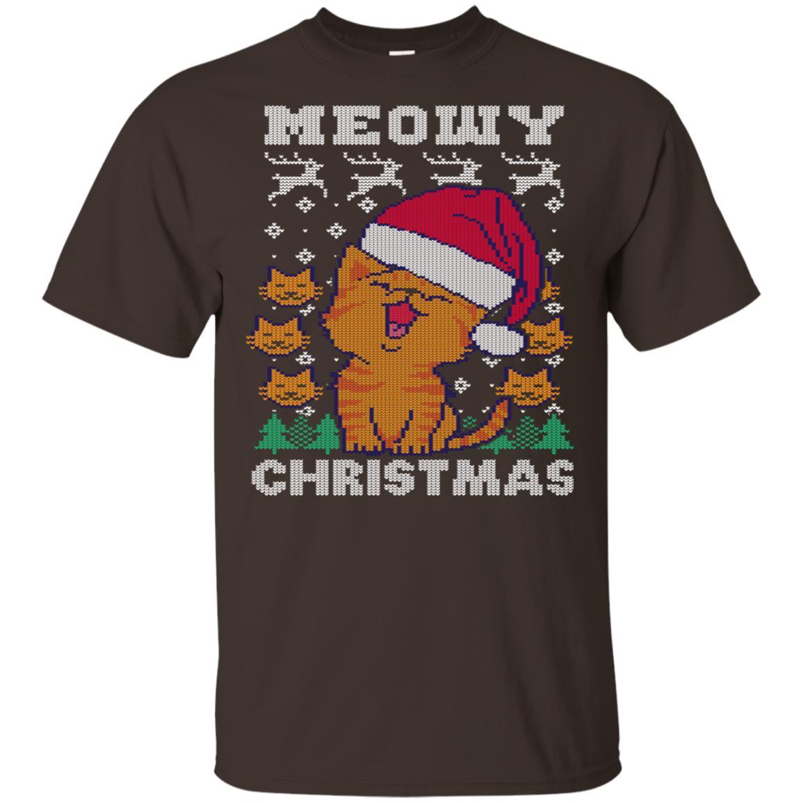 Meowy Merry Ugly Christmas Cat Lover Pun Gift Unisex Short Sleeve