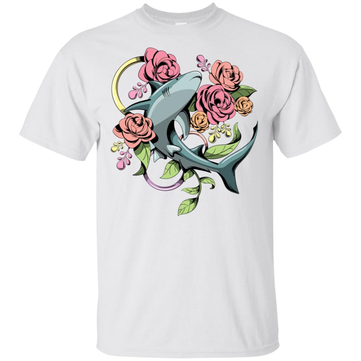 Mama Shark, Flower Mom Shark Gift for Women Unisex Short Sleeve