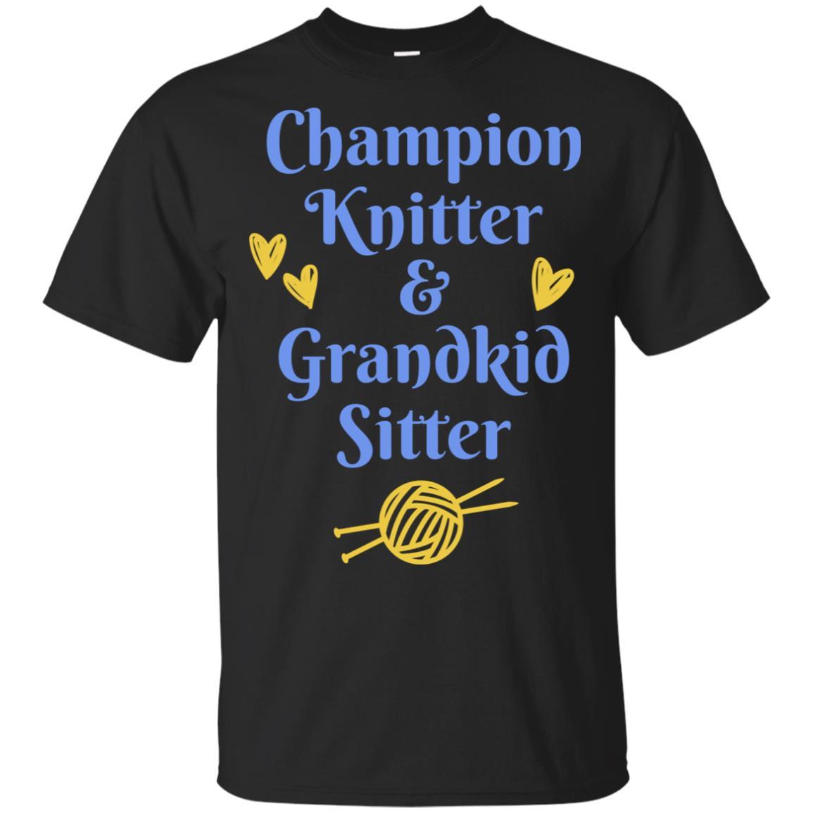 Knitter Gift Champion Knitter & Grandkid Sitter Unisex Short Sleeve
