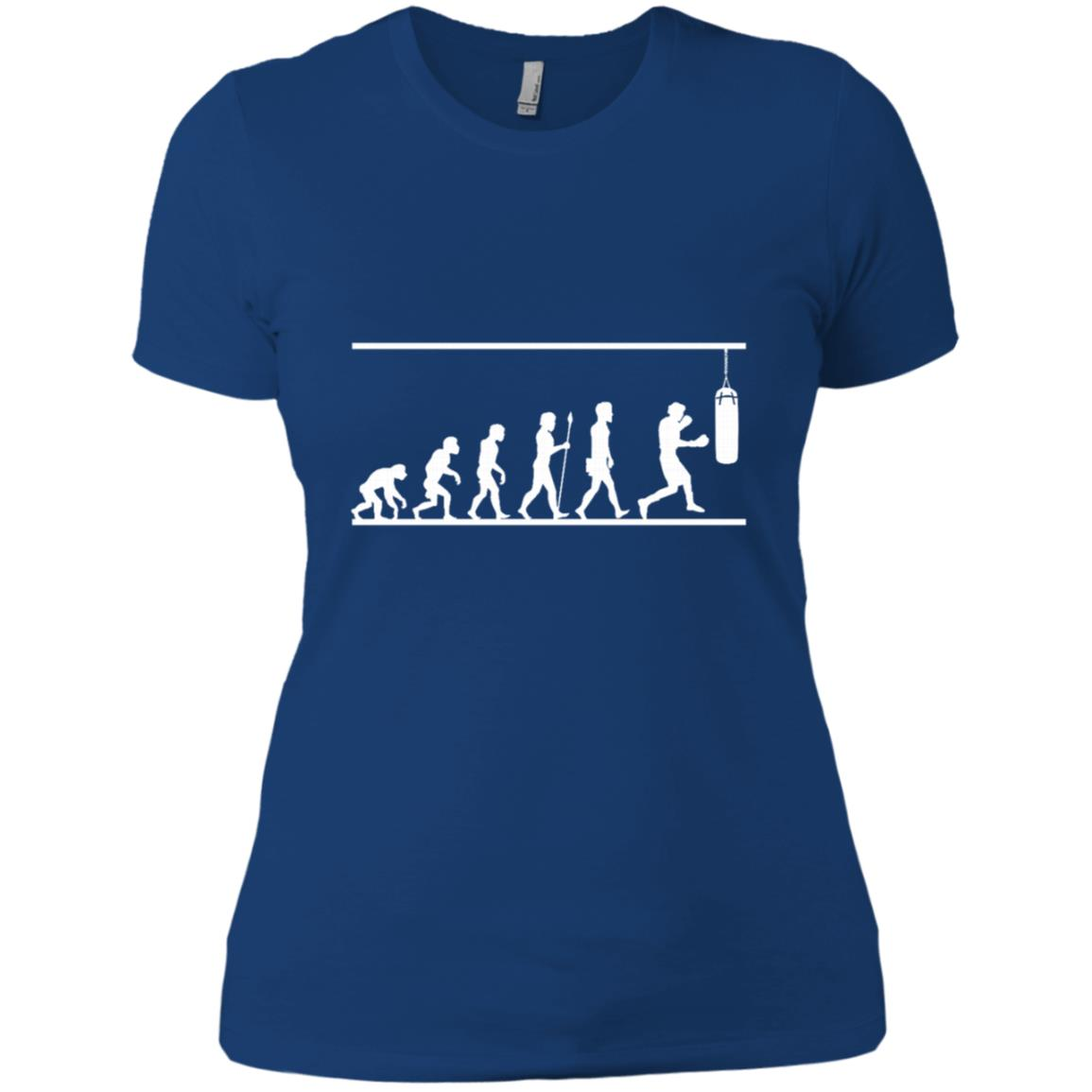Boxing Evolution Funny Comical Combat Sport Gift -1 Women Short Sleeve